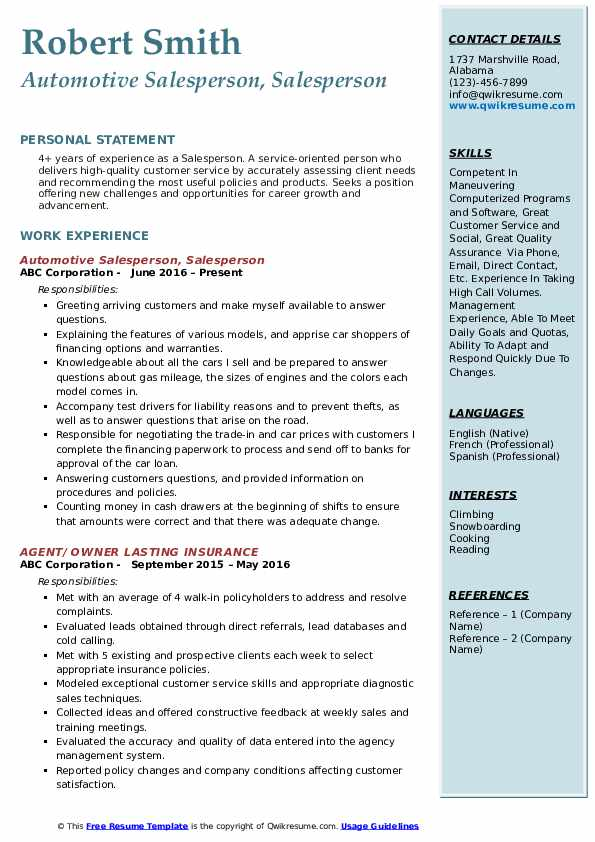 Automotive Salesperson, Salesperson Resume Model