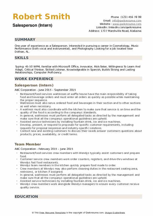 Salesperson Resume example