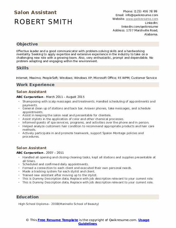 Salon Assistant Resume example