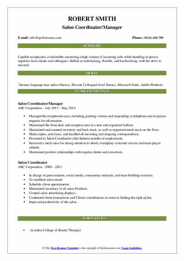 Salon Coordinator/Manager Resume Example