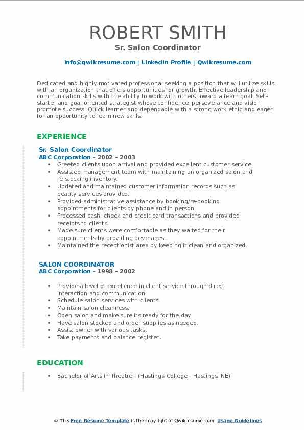 Sr. Salon Coordinator Resume Model