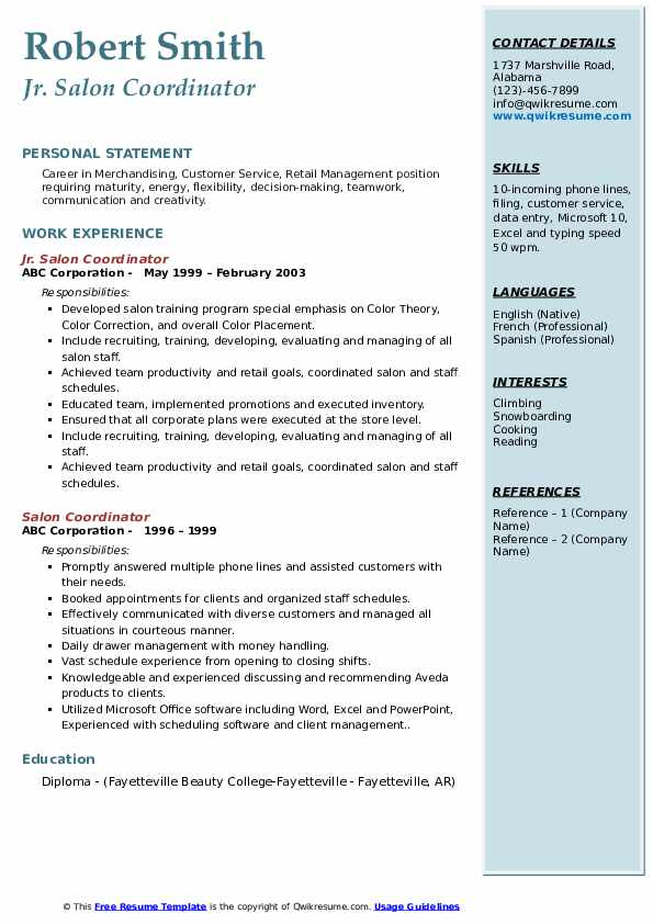 Jr. Salon Coordinator Resume Example