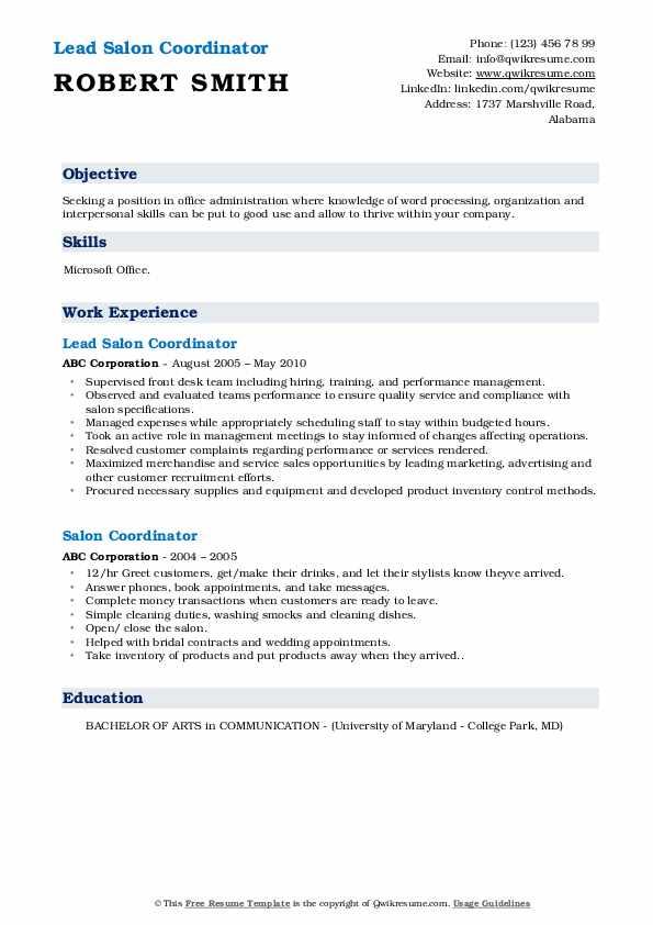 Lead Salon Coordinator Resume Model