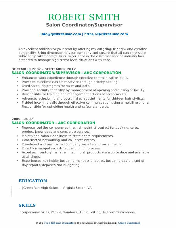 Salon Coordinator/Supervisor Resume Example