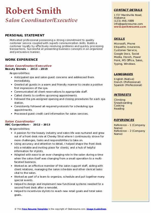 Salon Coordinator/Executive Resume Example