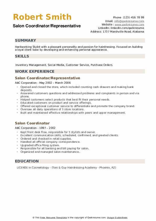 Salon Coordinator/Representative Resume Template