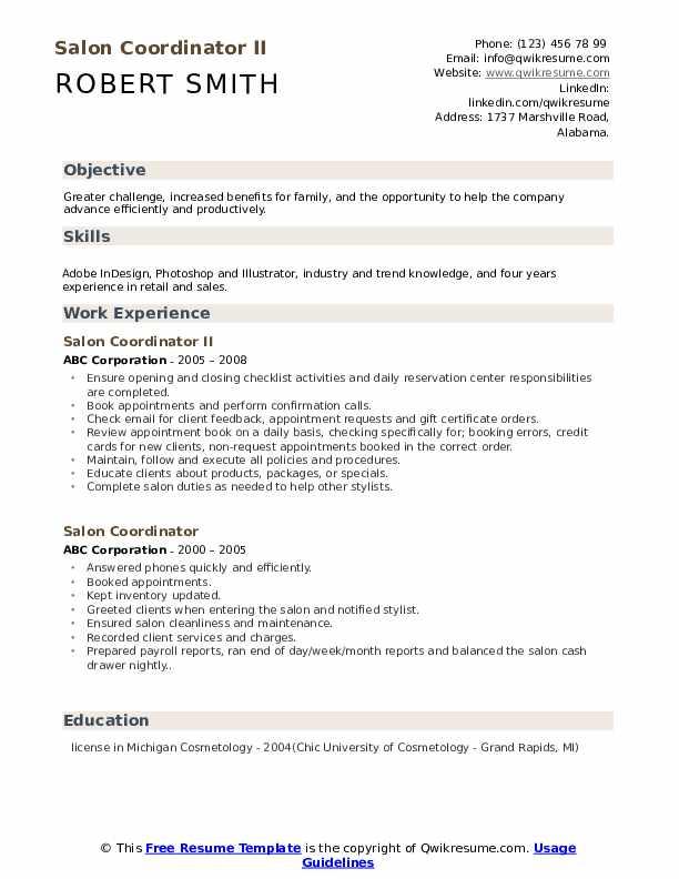 Salon Coordinator II Resume Template