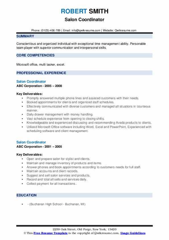 Salon Coordinator Resume example