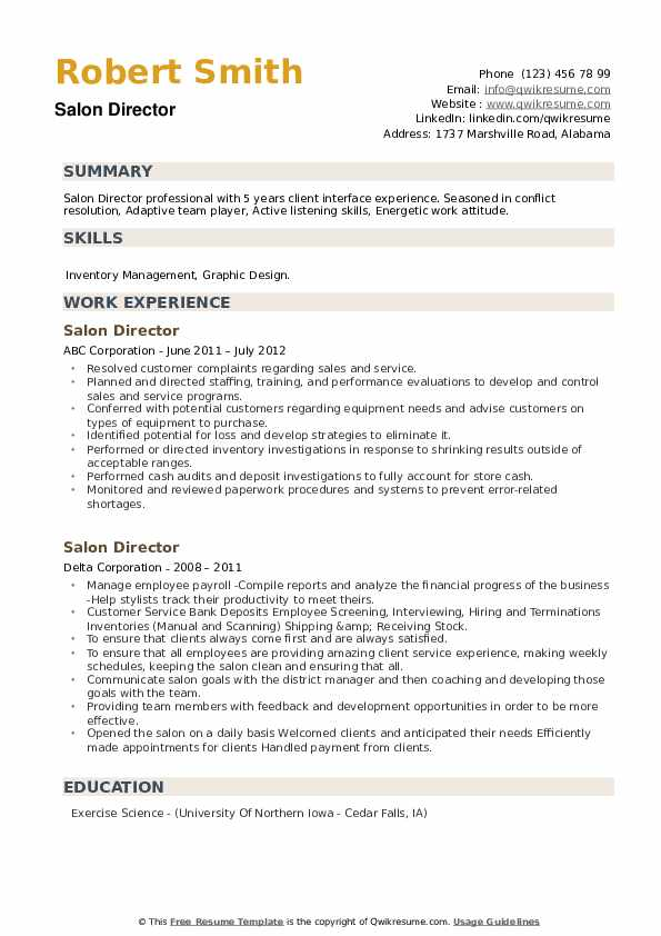 Salon Director Resume example