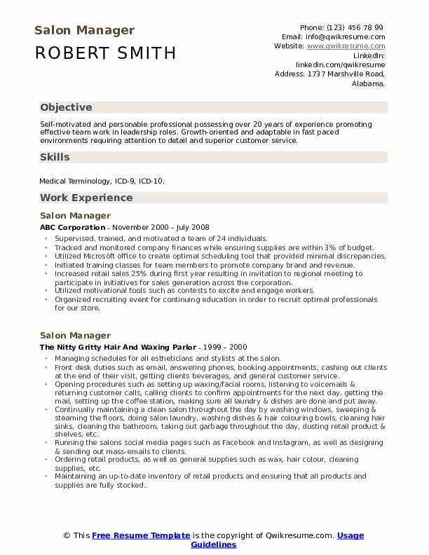 Salon Manager Resume Example