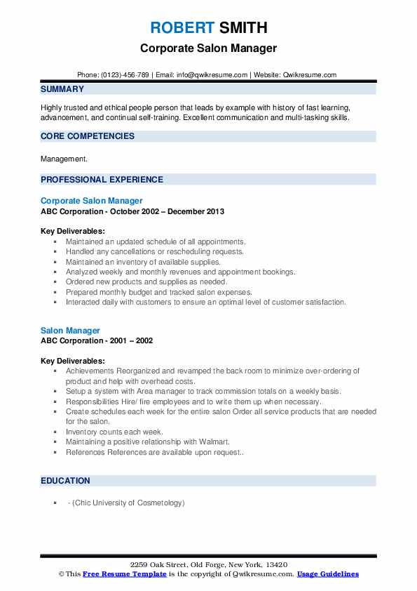 Corporate Salon Manager Resume Template