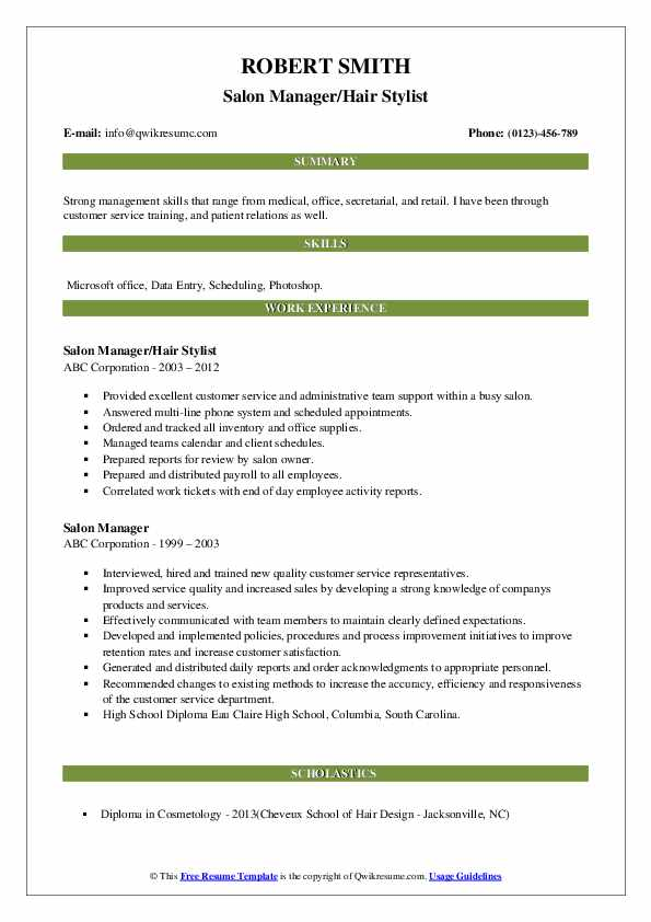 Salon Manager/Hair Stylist Resume Example