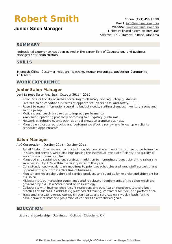 Junior Salon Manager Resume Model