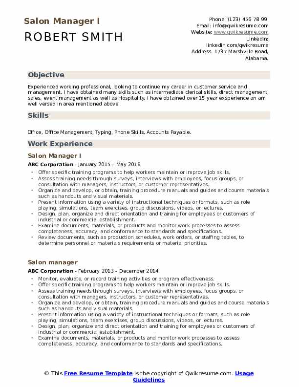 Salon Manager I Resume Format