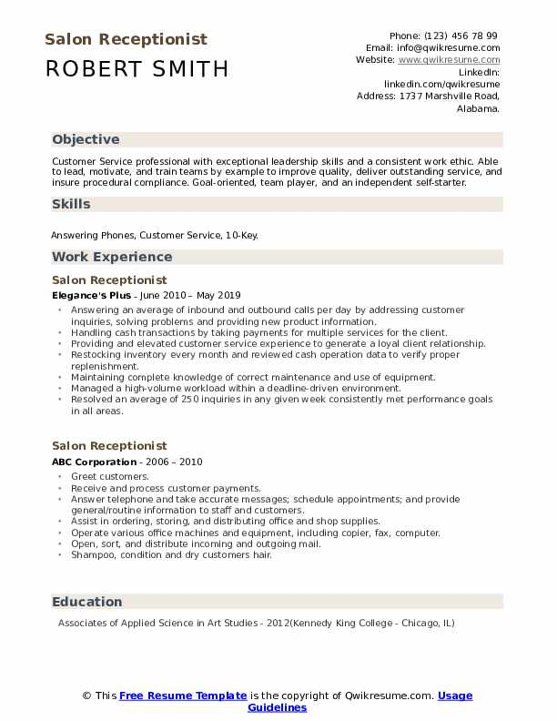 Salon Receptionist Resume Format