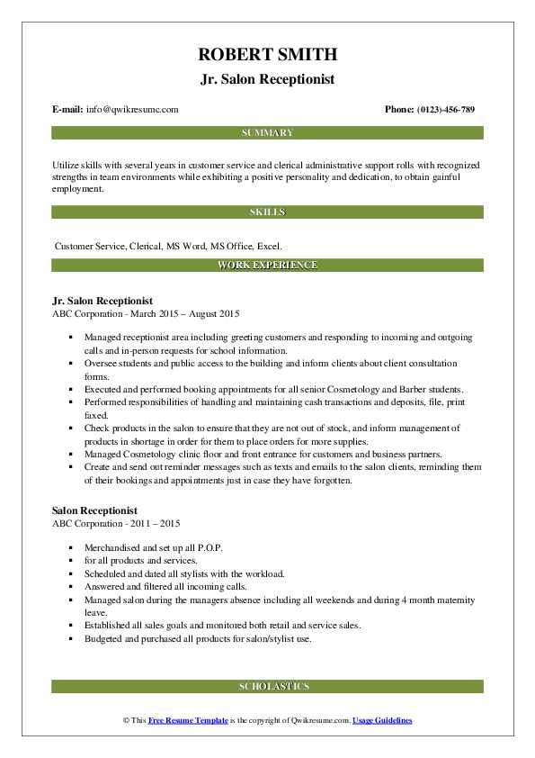Jr. Salon Receptionist Resume Model