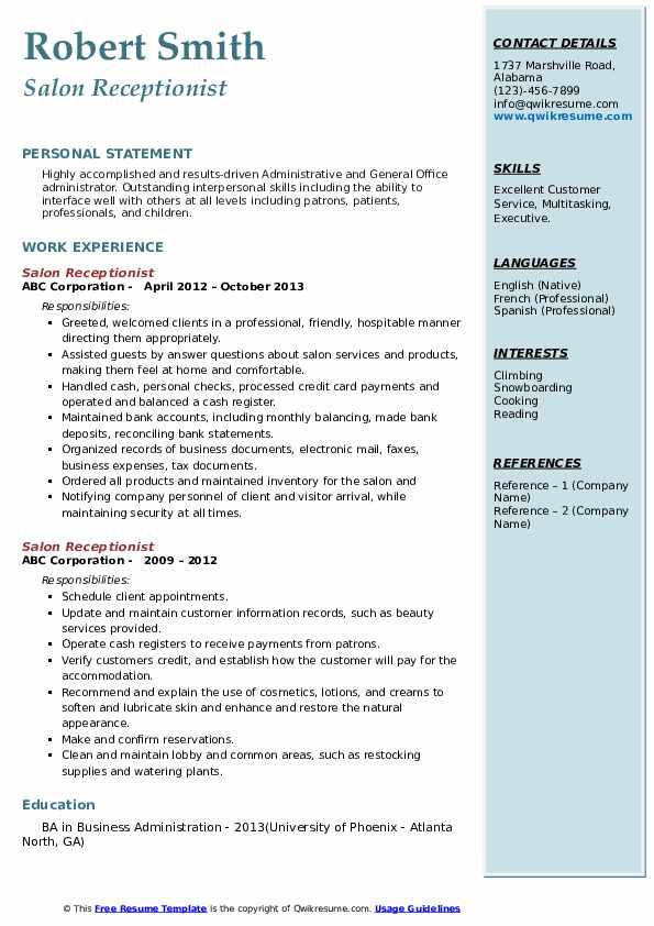 Salon Receptionist Resume Example