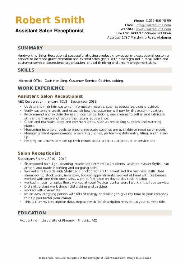 Assistant Salon Receptionist Resume Example