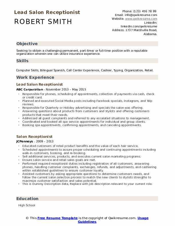 Lead Salon Receptionist Resume Format