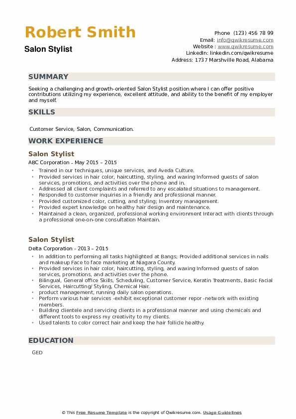 Salon Stylist Resume example