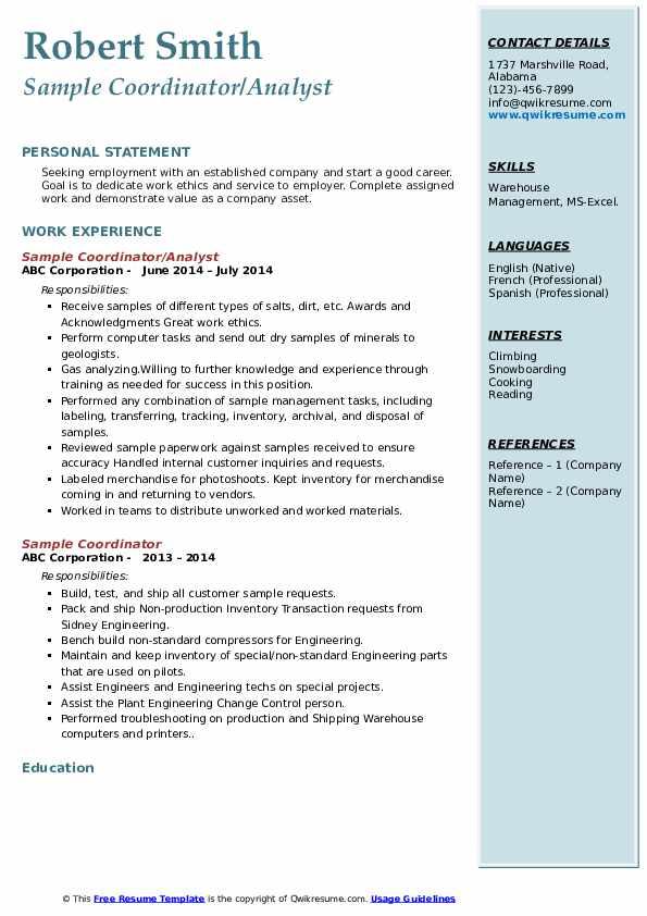 sample coordinator resume samples  qwikresume