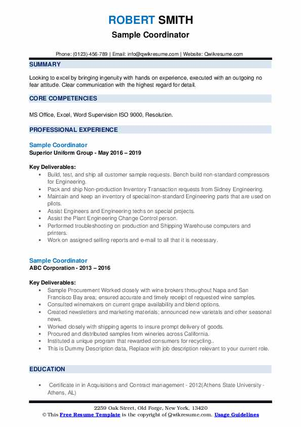 Sample Coordinator Resume example