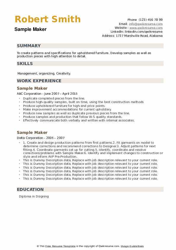 Sample Maker Resume example