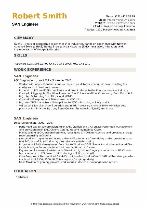 SAN Engineer Resume example