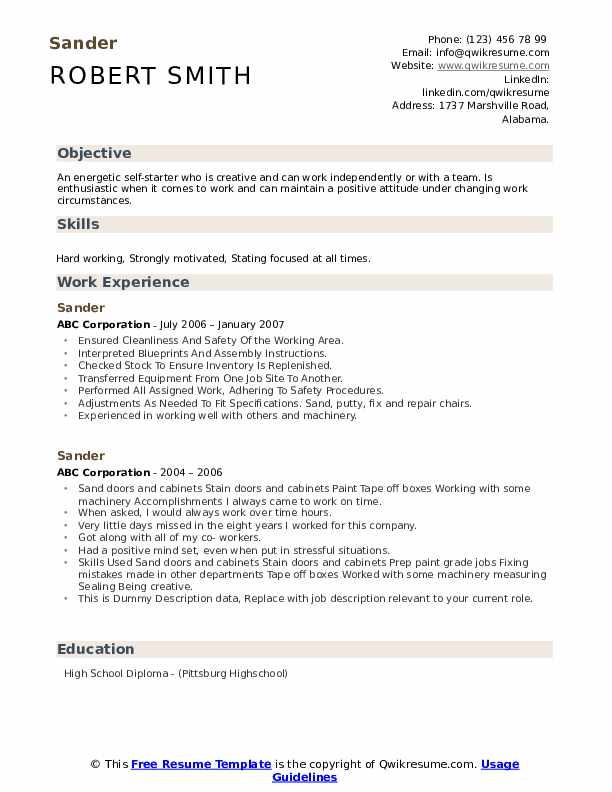 Sander Resume example