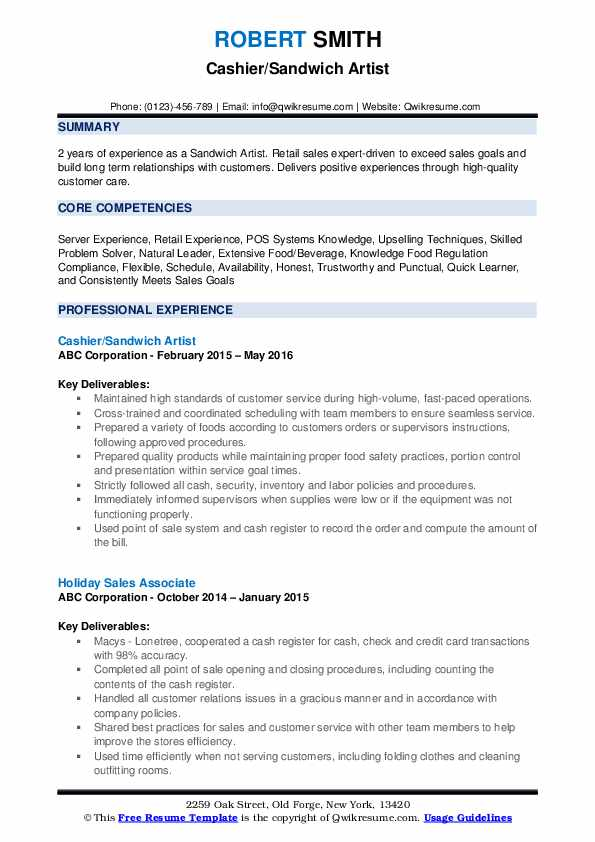 Cashier/Sandwich Artist Resume Format
