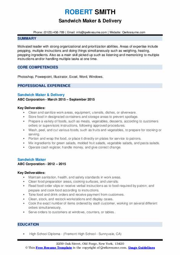 Sandwich Maker & Delivery Resume Template