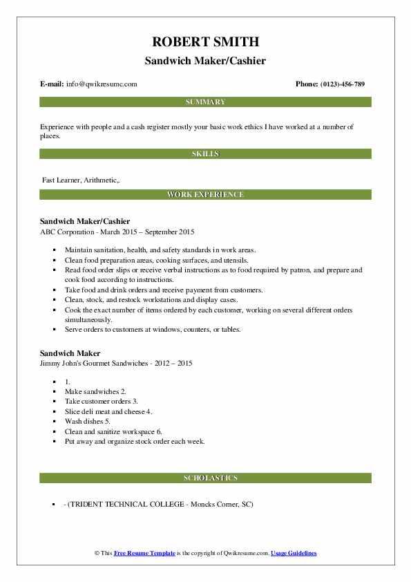 Sandwich Maker/Cashier Resume Model