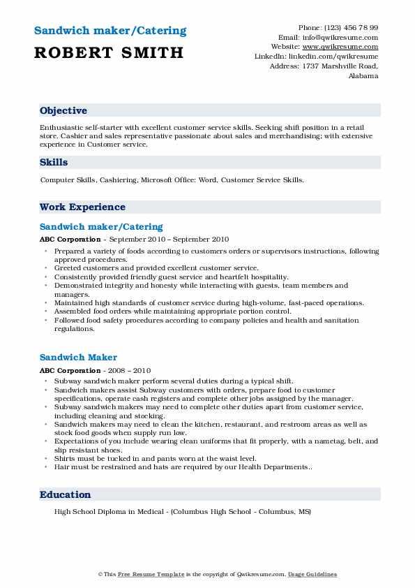 Sandwich maker/Catering Resume Sample