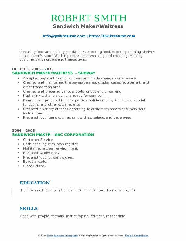 Sandwich Maker/Waitress  Resume Model