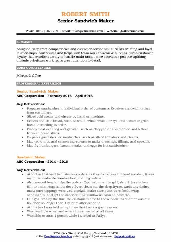 Senior Sandwich Maker Resume Format