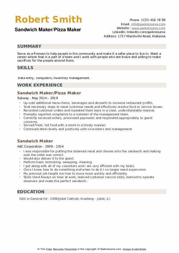 Sandwich Maker/Pizza Maker Resume Template