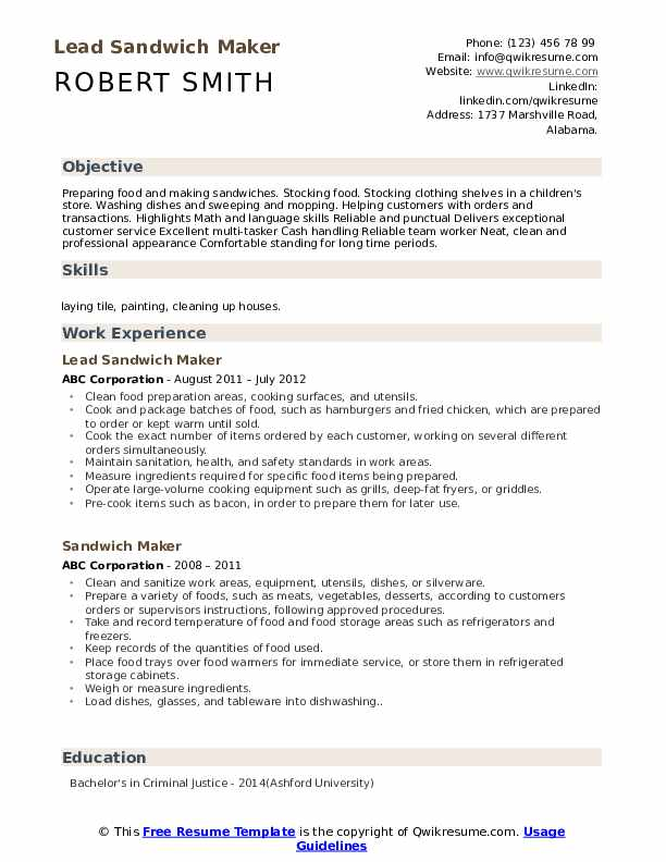 Lead Sandwich Maker Resume Format