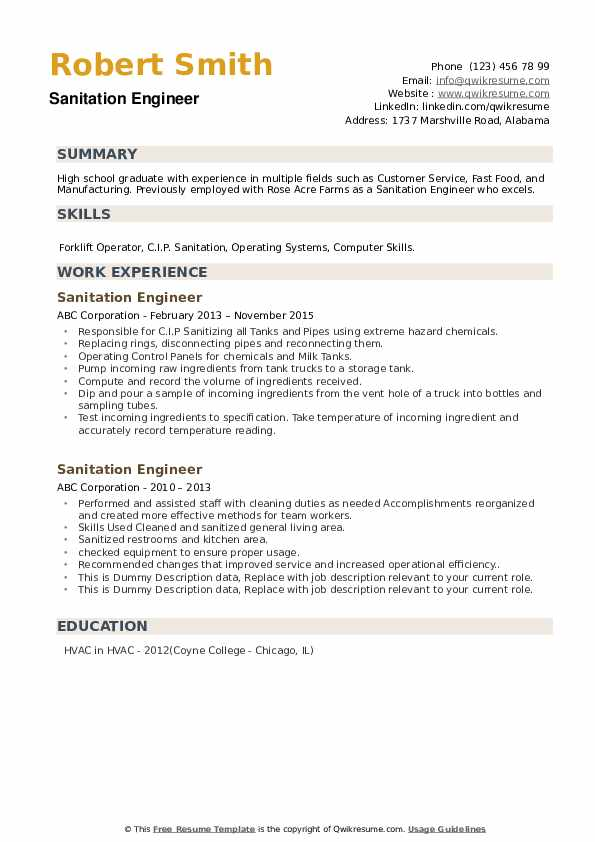 Sanitation Engineer Resume example
