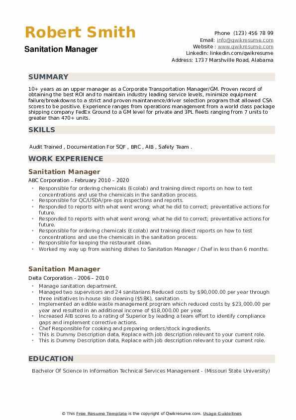 Sanitation Manager Resume example