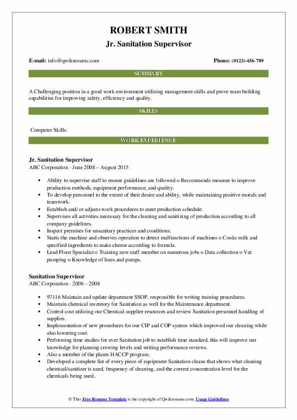 sanitation supervisor resume samples