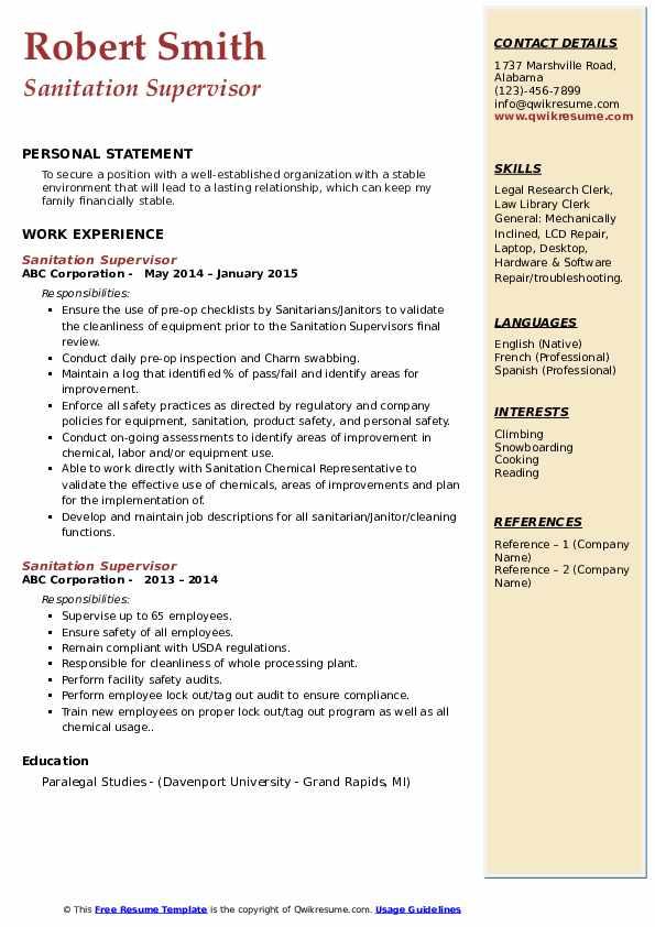 sanitation supervisor resume samples