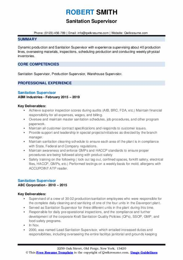 Sanitation Supervisor Resume example