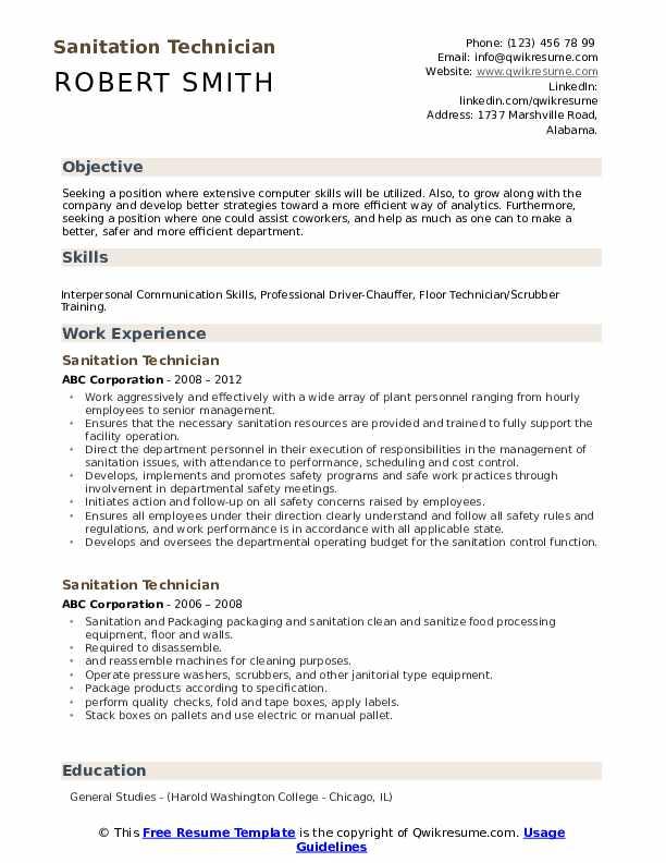 Sanitation Technician Resume Example