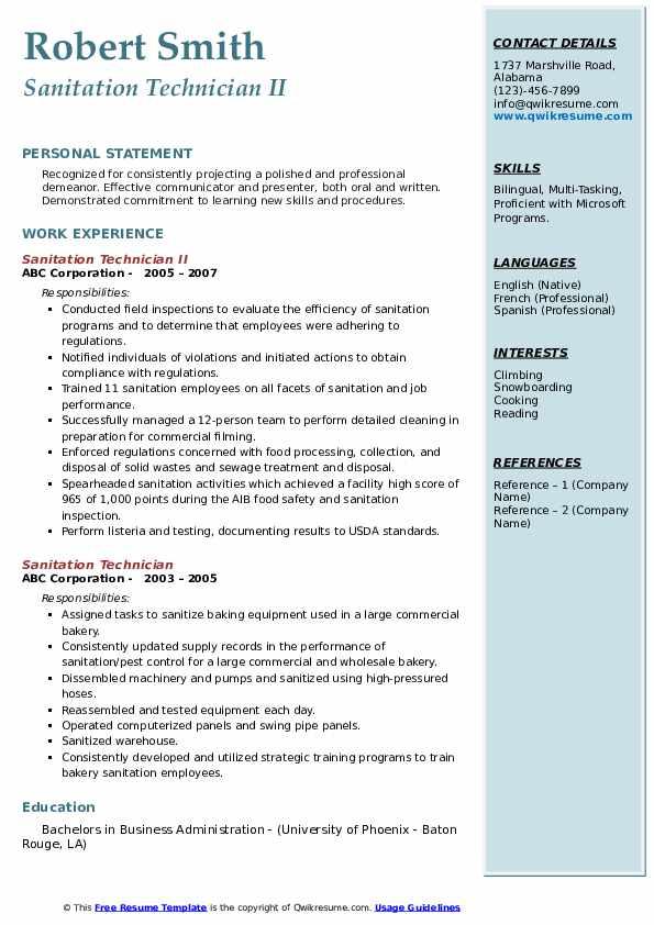 Sanitation Technician II Resume Example