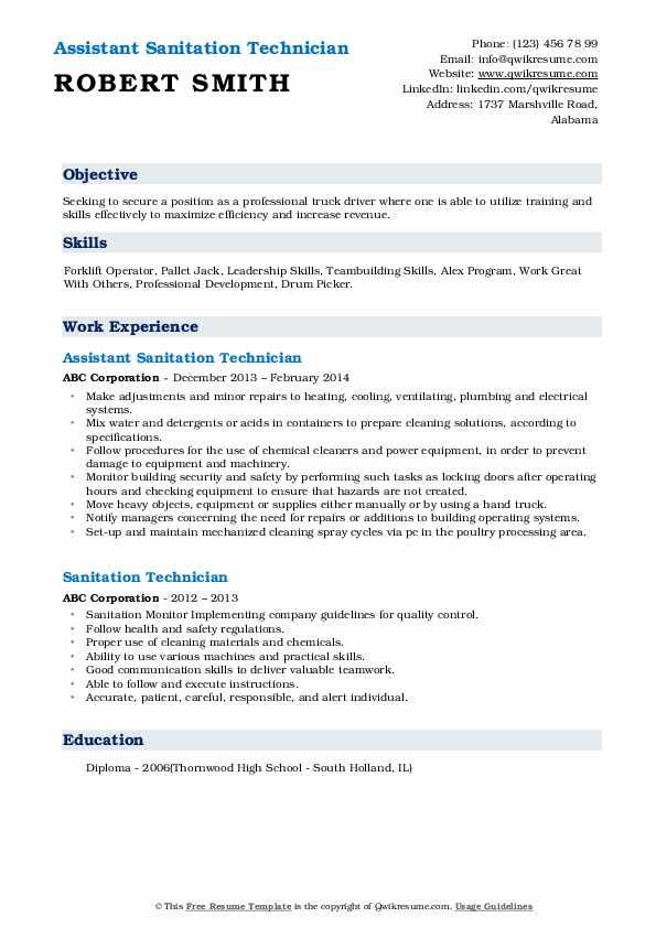 Assistant Sanitation Technician Resume Example