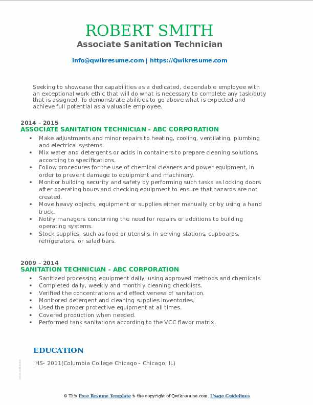 Associate Sanitation Technician Resume Model