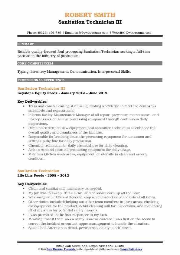 Sanitation Technician III Resume Model