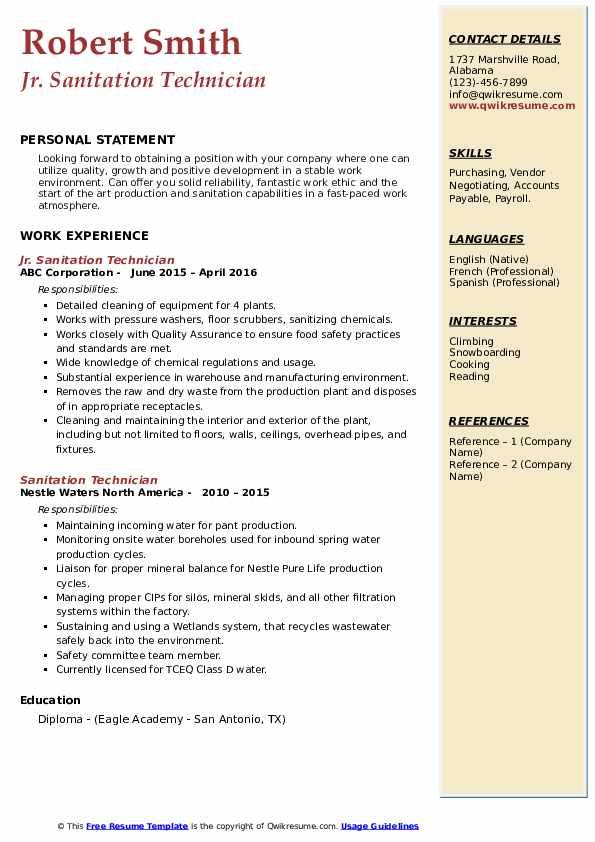 Jr. Sanitation Technician Resume Template