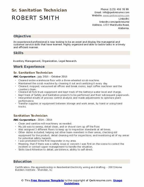 Sr. Sanitation Technician Resume Format