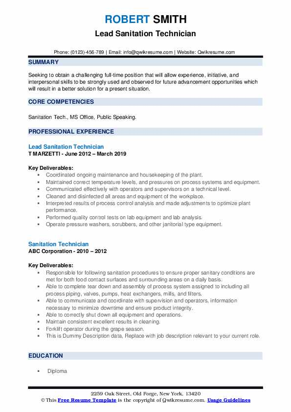 Lead Sanitation Technician Resume Format
